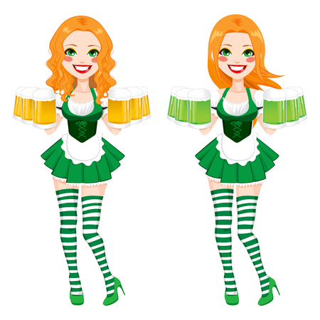 paddy: Beautiful red haired Irish Girl on two different version holding green and golden beer with sexy mini skirt and stockings