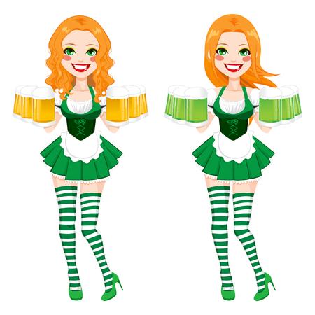 sexy stockings: Sch�ne rote behaarte Irish Girl auf zwei verschiedenen Version gedr�ckt, gr�ne und goldene Bier mit sexy Mini-Rock und Str�mpfe