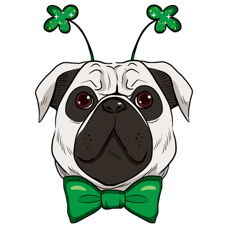 Cute St. Patrick pug dog with green bow tie and fashionable green sparkling clover accessory Vector