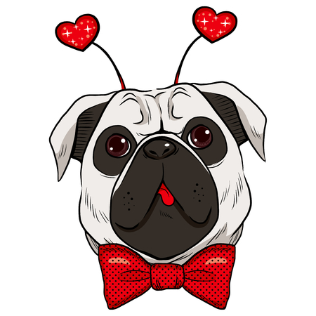 Cute St. Valentine pug dog showing tongue with red bowtie and fashionable red sparkling heart accessory Vector