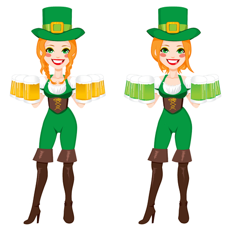 Beautiful red haired Irish Girl on two different version holding green and golden beer with leprechaun costume Vector