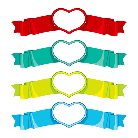 Four banners with different color and sparkling heart shape frame on center of ribbon Vector