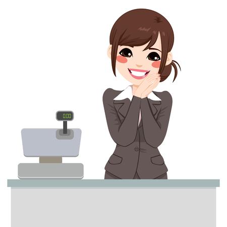Mooie zachte Aziatische caissière vrouw klaar om de klant bij te wonen