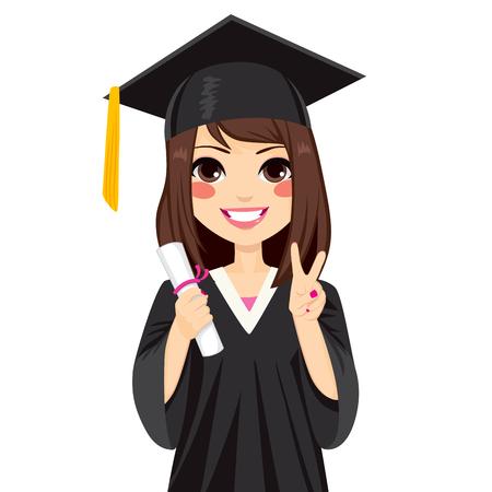 Muchacha morena hermosa en día de graduación celebración diploma y haciendo el gesto de la victoria Muestra de la mano