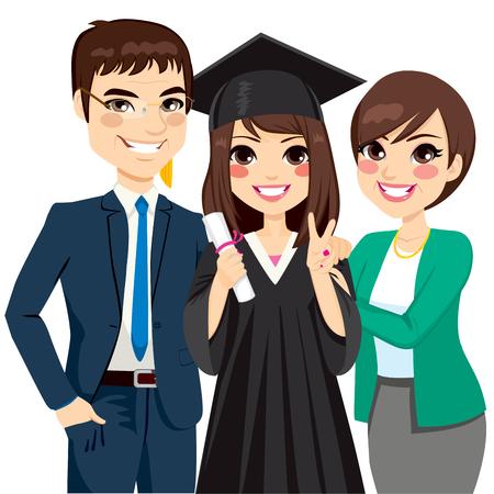 Los padres de pie orgulloso y feliz de la hija de la celebración de diploma en la ceremonia de graduación