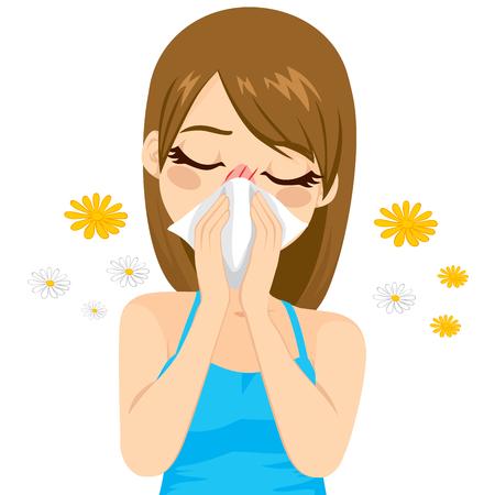 estornudo: Mujer enferma enfermo sufrimiento alergia de primavera joven usando tejido en la nariz Vectores