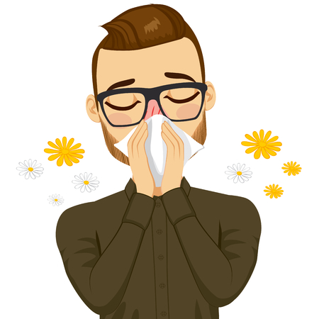 cartoon people: Young sick man ill suffering spring allergy using white tissue on nose Illustration