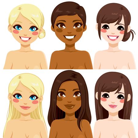 Hermosas mujeres diferentes étnicos con dos diferentes tipos de peinados