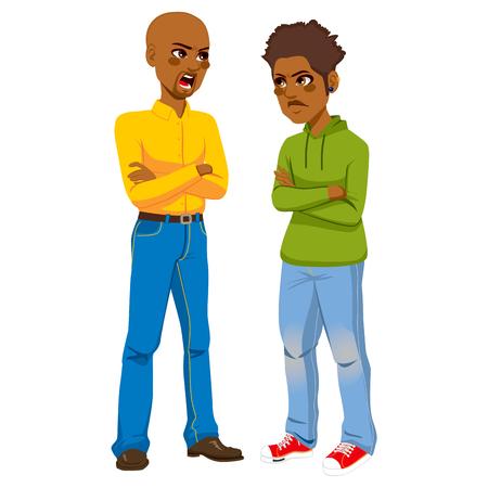personas discutiendo: Enojado padre afroamericano que tienen una pelea discutiendo con piercings hijo adolescente rebelde que usan