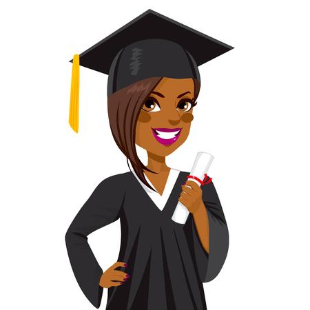 birrete de graduacion: Afroamericana chica hermosa en día de graduación que sostiene el diploma y con la mano en la cadera