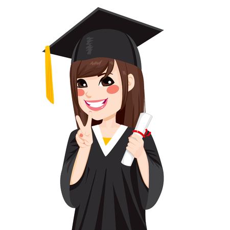 Mooie brunette Aziatische meisje op afstuderen dag houdt diploma en het maken van overwinning teken handgebaar