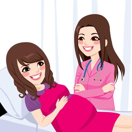 im bett liegen: Sch�ne junge asiatische schwangere Frau auf Krankenhausbett wird von einem weiblichen Arzt besucht