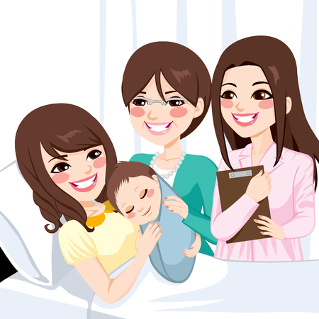 woman lying down: Beautiful young asian mother lying on hospital bed hugging newborn baby boy visited by female doctor and happy grandmother Illustration