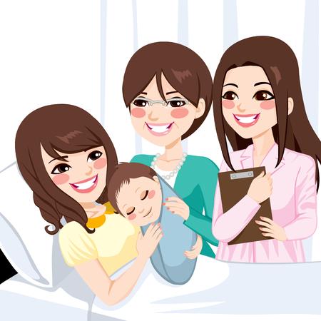 Bella giovane madre asiatica disteso sul letto d'ospedale abbraccia neonato ragazzo visitato da medico di sesso femminile e felice nonna Archivio Fotografico - 35894414