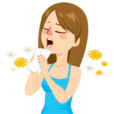 Young woman going to sneeze because of spring allergy making funny face Vectores
