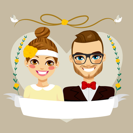 Beautiful Save The Date design composition showing brunette hipster couple portrait with empty banner Vector