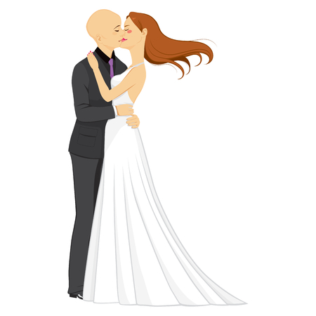 tenderly: Man and woman couple hugging and kissing with passion and love on their wedding day Illustration