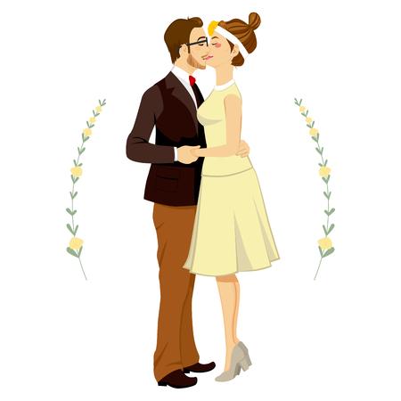 tenderly: Hipster uomo e donna coppia baciare e abbracciare teneramente il giorno delle nozze Vettoriali