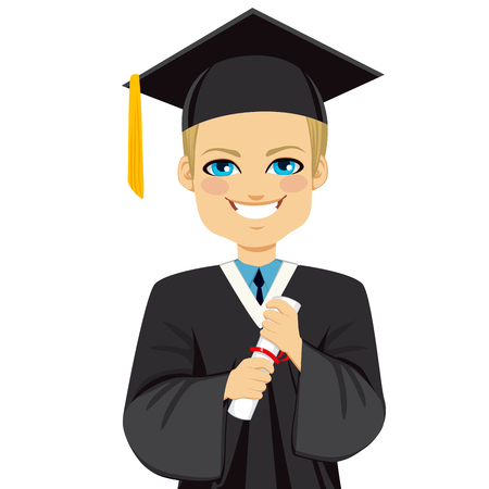 Happy blond student boy on graduation day holding diploma with both hands Çizim