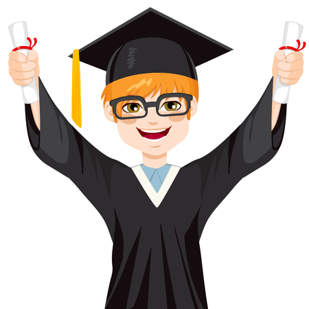 Happy red haired nerd student boy on graduation day holding two diplomas with both hands Vectores