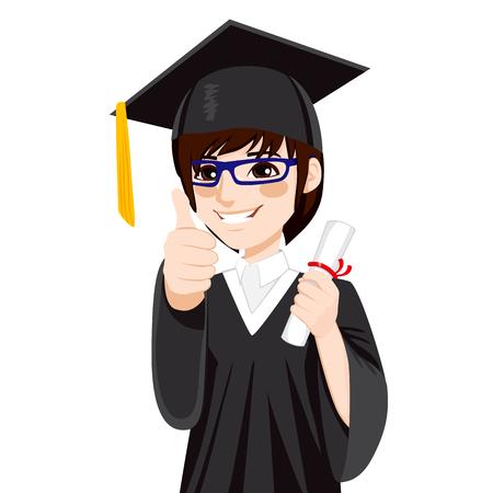 Joven estudiante de Asia el día de graduación con el diploma y haciendo dedo pulgar en señal de mano