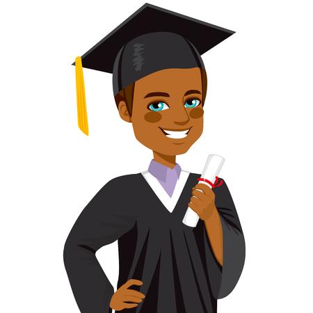 Afrikaanse Amerikaanse jongen student glimlachen op afstuderen dag houdt diploma op de hand