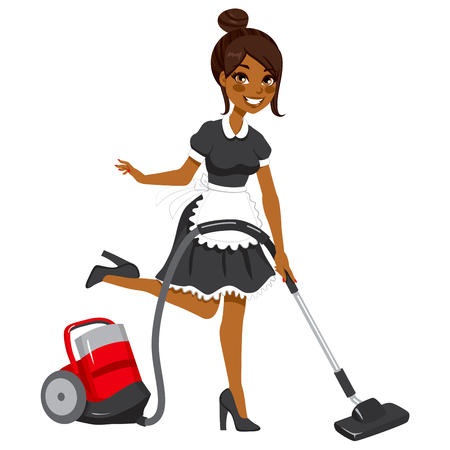 Beautiful African American woman in vintage maid dress cleaning using red vacuum cleaner Vector