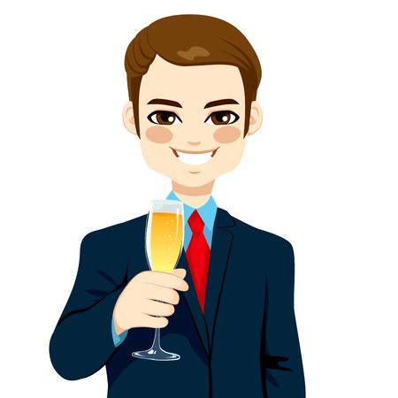 Succesvolle jonge zakenman glimlachend roosteren met een glas champagne