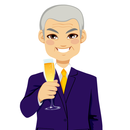 toasting wine: Successful smiling senior businessman toasting with a glass flute full of champagne Illustration