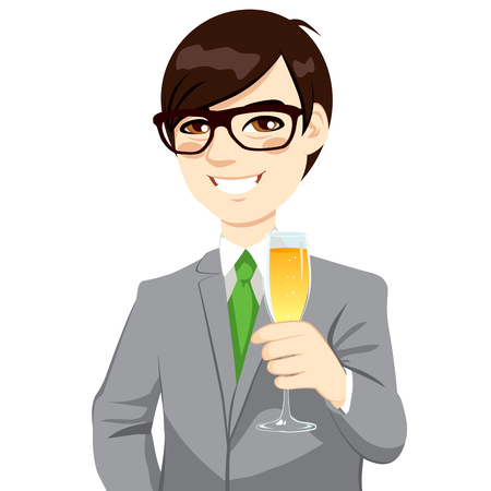 good looking man: Successful young Asian businessman with glasses toasting holding a flute of champagne