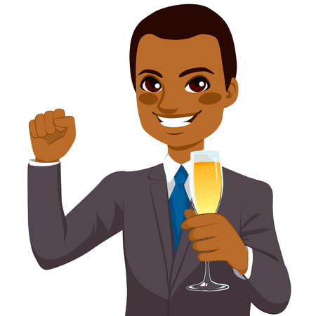 Successful young African American businessman toasting with a champagne flute while raising a fist