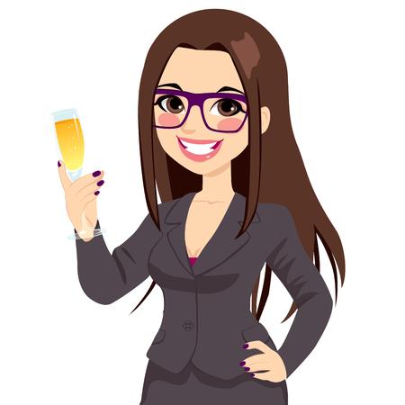 Successful young brunette businesswoman with glasses toasting with a champagne flute and hand on hip Vectores