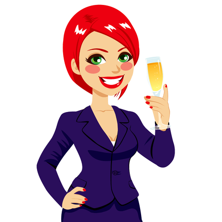 haired: Successful smiling young red haired businesswoman toasting holding a glass flute full of champagne and with hand on hip