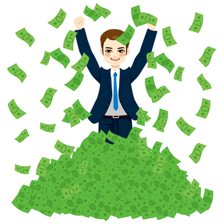Happy super rich successful businessman raising from huge green money bills pile Vectores