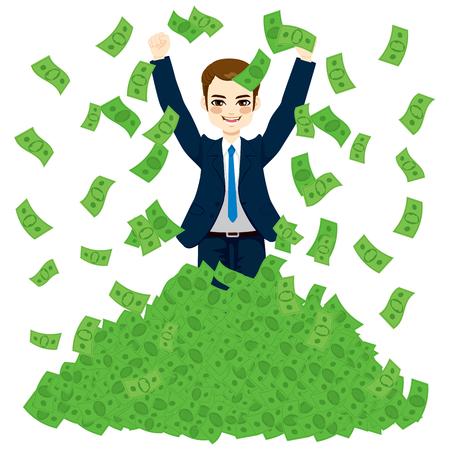Szczęśliwy super bogatych sukcesy biznesmen z ogromnym podnoszenie bonów pieniężnych stos zielonych Ilustracje wektorowe