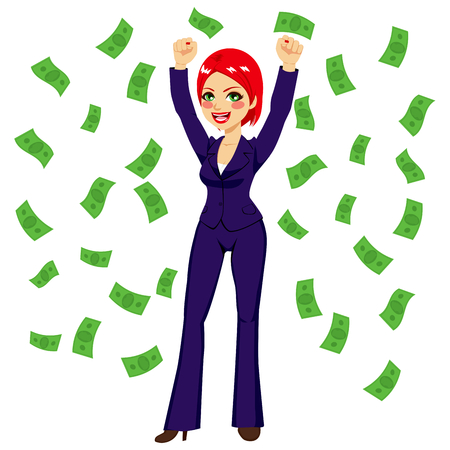 red haired: Beautiful young successful red haired rich businesswoman under falling money rain shower