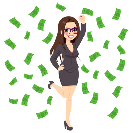 Beautiful young successful rich brunette business woman under falling money rain shower