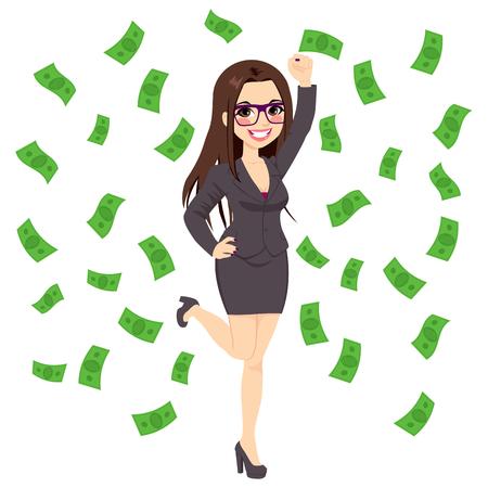 Erfolgreicher Junger Geschäftsmann Unter Fallenden Regnet Geld