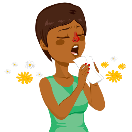 Young African American woman going to sneeze because of spring allergy making funny face
