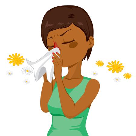 sintoma: Mulher morena americana Africano jovem espirros assoar o nariz sobre o tecido branco por causa da alergia de primavera