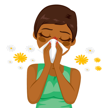 snort: Young sick african american woman ill suffering spring allergy using tissue on nose