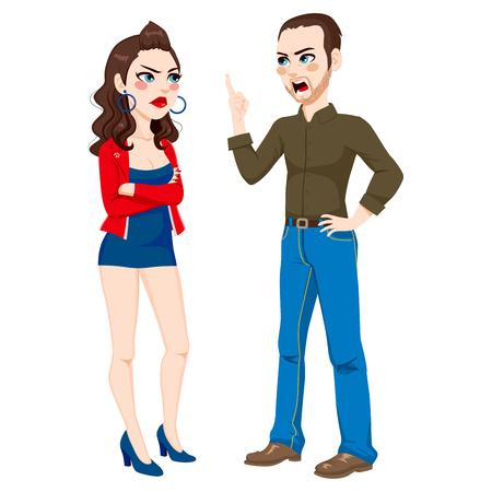 personas discutiendo: Padre enojado que tienen una pelea de discutir con su hija adolescente rebelde que llevaba un vestido demasiado corto