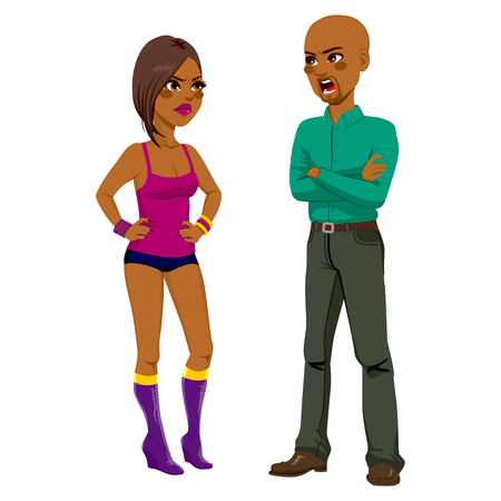 family problems: African American angry father having a quarrel arguing with rebel daughter wearing mini shorts and top Illustration