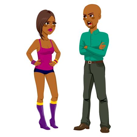 problemas familiares: Enojado padre afroamericano que tienen una pelea a discutir con la hija rebelde que llevaba mini shorts y top Vectores