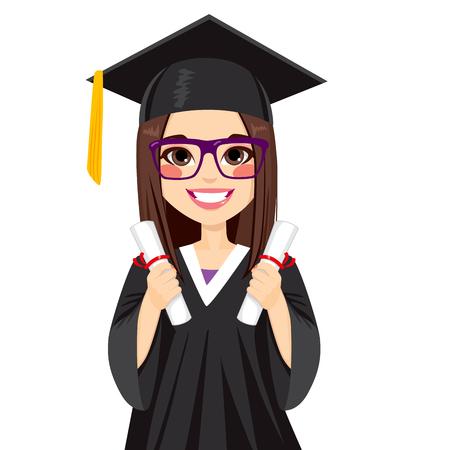 gorros de graduacion: Muchacha morena hermosa en día de graduación con diploma de dos en dos manos Vectores