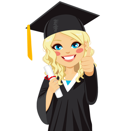 Beautiful blonde girl on graduation day with diploma and making thumbs up hand sign