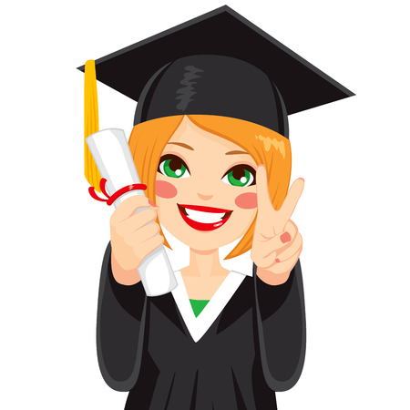 Beautiful red haired girl on graduation day with diploma and making victory sign with hand