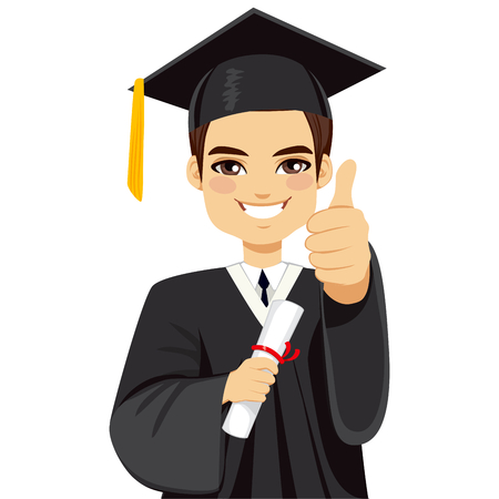 Happy brown haired boy on graduation day with diploma and making thumbs up hand gesture Vectores