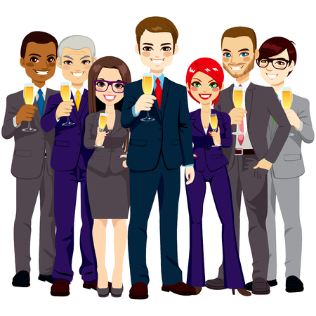 business office: Team of seven successful and confident business men and women standing smiling with champagne glass toasting