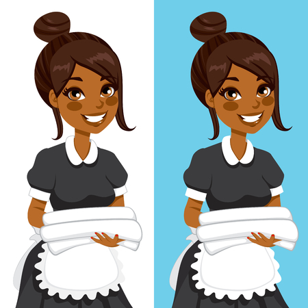 African American hotel service woman housekeeping worker holding white towels and bedclothes in two different background Illustration